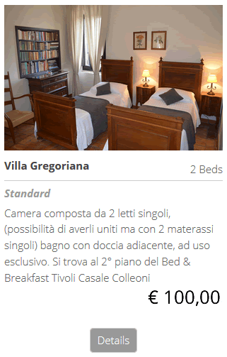 Bed and Breakfast Villa Gregoriana pernotta al B&B bed breakfast a Villa Gregoriana Tivoli Roma